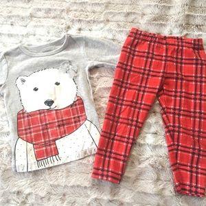 Polar Bear Top and Bottom Set Holiday 12 mo